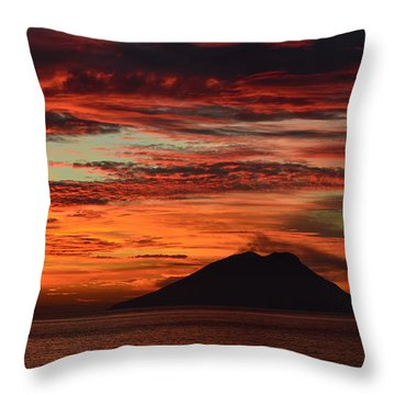 Throw Pillow featuring the photograph Stromboli Sunrise by Barbara Walsh