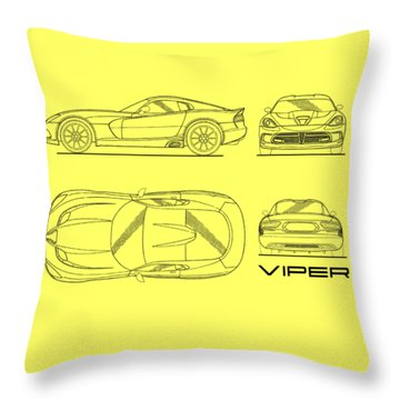 Srt Viper Blueprint Throw Pillow