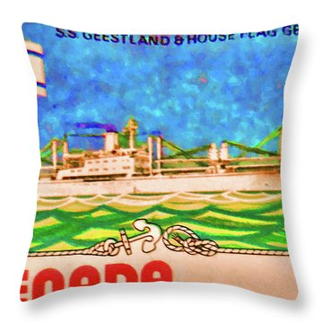 S.s Geestland And House Flag Geest Line Throw Pillow by Lanjee Chee
