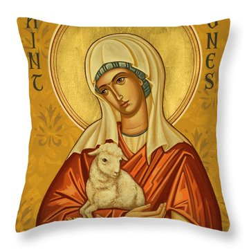 St. Agnes - Jcagn Throw Pillow