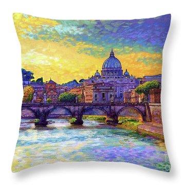 St Angelo Bridge Ponte St Angelo Rome Throw Pillow