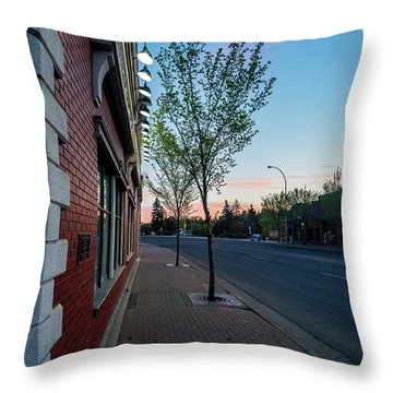 Throw Pillow featuring the photograph St. Anne Street At Dusk by Darcy Michaelchuk