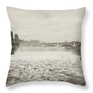 St. Anthony Falls In Spring Throw Pillow