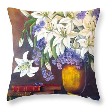 St. Anthony's Lilies Throw Pillow