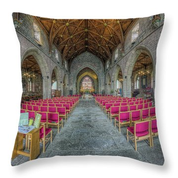 Throw Pillow featuring the photograph St Asaph Cathedral by Ian Mitchell