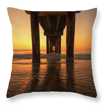 St Augustine Beach Pier Morning Light Throw Pillow