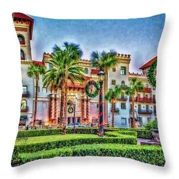 St. Augustine Downtown Christmas Throw Pillow