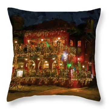 Throw Pillow featuring the photograph  St. Augustine Meehan's Pub by Louis Ferreira