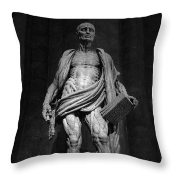 St. Bartholomew In Milan Cathedral By Marco D'agrate In Black And White Throw Pillow
