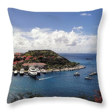 Throw Pillow featuring the photograph St. Barths Harbor At Gustavia, St. Barthelemy by Lars Lentz