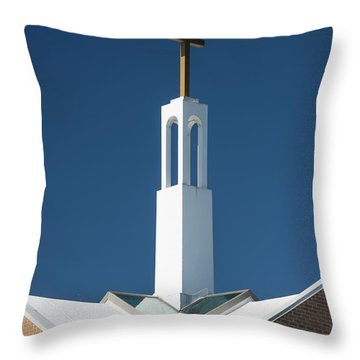 Throw Pillow featuring the photograph St Benedicts Church Rooftop by Gary Slawsky