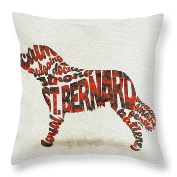 Throw Pillow featuring the painting St. Bernard Dog Watercolor Painting / Typographic Art by Ayse and Deniz