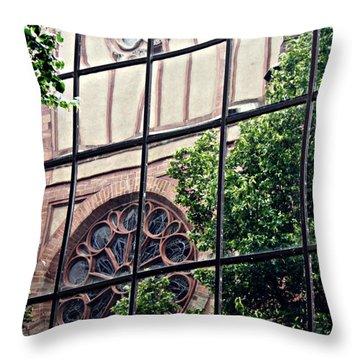 St Boniface Church In Reflection  Throw Pillow by Sarah Loft