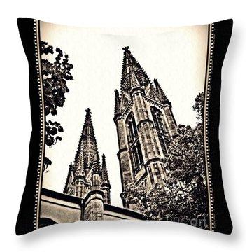 St Boniface Church Towers Sepia Throw Pillow by Sarah Loft