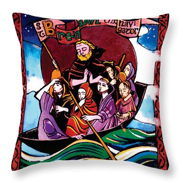 St. Brendan The Navigator - Mmbre Throw Pillow