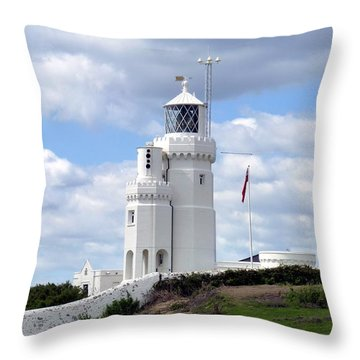 St. Catherine's Lighthouse On The Isle Of Wight Throw Pillow by Carla Parris