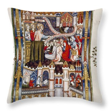 St. Denis Preaching, 1317 Throw Pillow by Granger