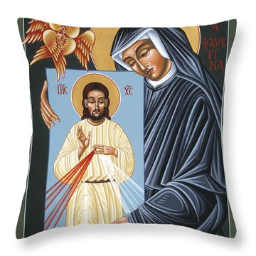 St Faustina Kowalska Apostle Of Divine Mercy 094 Throw Pillow