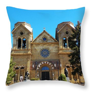 St. Francis Cathedral Santa Fe Nm Throw Pillow by Joseph Frank Baraba