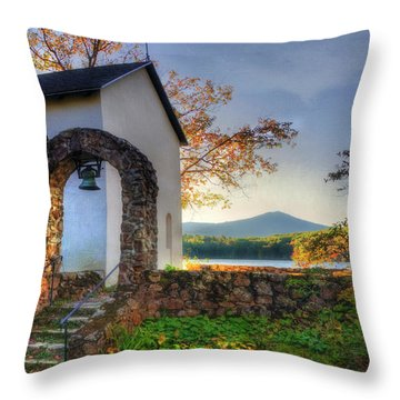 Throw Pillow featuring the photograph St Francis Chapel Mountain Scene - Marlborough Nh by Joann Vitali