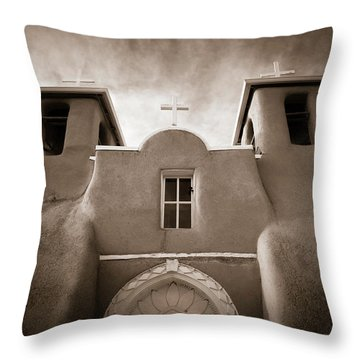 Throw Pillow featuring the photograph St Francis Church Front by Marilyn Hunt