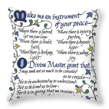St Francis Prayer   Lord Make Me An Instrument Of Your Peace Throw Pillow