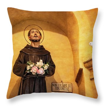 St. Francis Statue And Live Doves Throw Pillow