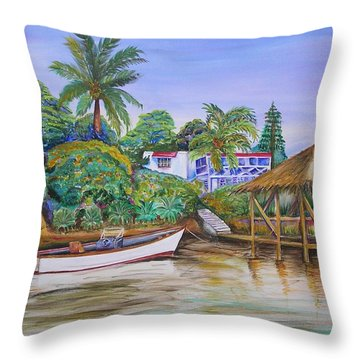 St. George Harbor Throw Pillow by Patricia Piffath