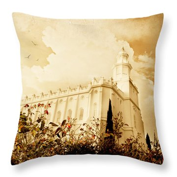 St George Temple Roses Throw Pillow by La Rae  Roberts