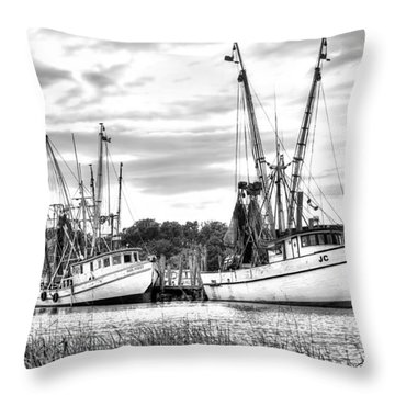 St. Helena Shrimp Boats Throw Pillow