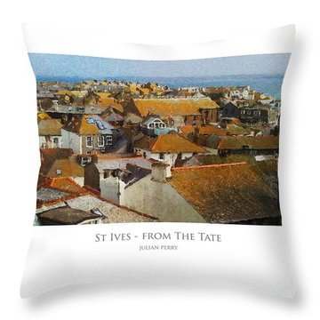 Throw Pillow featuring the digital art St Ives - From The Tate by Julian Perry