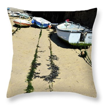 St Ives Harbour Boats Throw Pillow