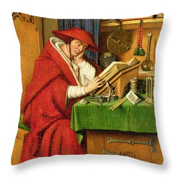 St. Jerome In His Study  Throw Pillow by Jan van Eyck