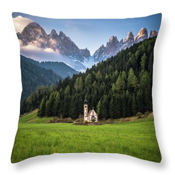 St. Johann Church In Val Di Funes Throw Pillow