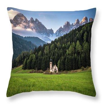 St. Johann Church In Val Di Funes Throw Pillow