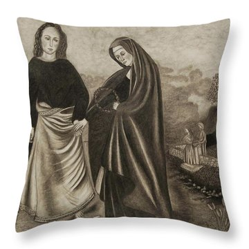 St. John And Blessed Mother At The Tomb Throw Pillow