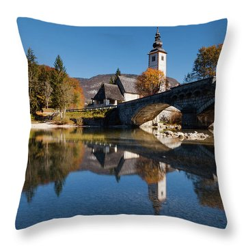 St. John The Baptist On The Lake Bohinj Throw Pillow
