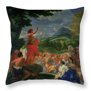 St John The Baptist Preaching Throw Pillow by II Baciccio - Giovanni B Gaulli