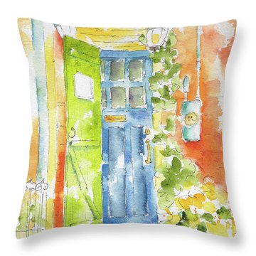 Throw Pillow featuring the painting St Johns Jelly Bean At 8 Wood Street by Pat Katz
