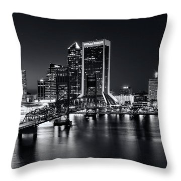 St Johns River Skyline By Night, Jacksonville, Florida In Black And White Throw Pillow