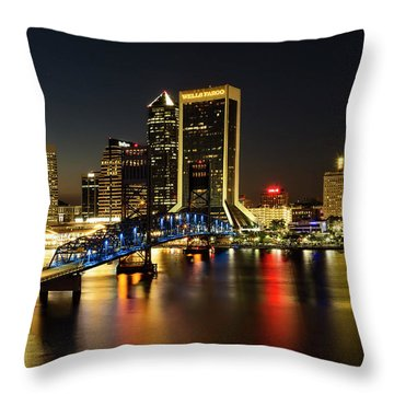 St Johns River Skyline By Night, Jacksonville, Florida Throw Pillow