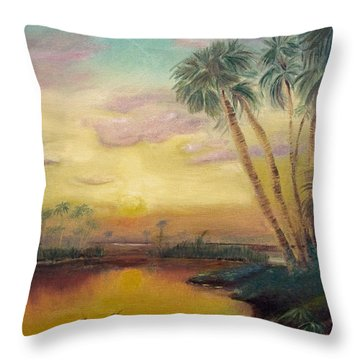 St. Johns Sunset Throw Pillow