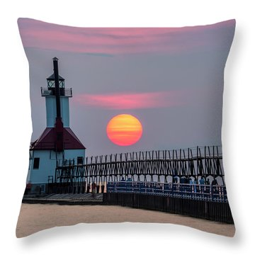 Throw Pillow featuring the photograph St. Joseph Lighthouse At Sunset by Adam Romanowicz