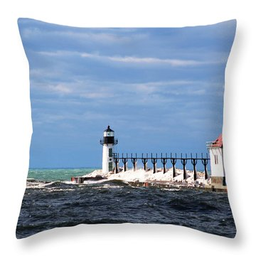 St. Joseph Lighthouse - Michigan Throw Pillow