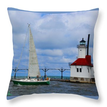 St. Joseph Lighthouse Sailboat Throw Pillow