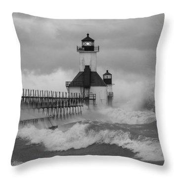 St. Joseph North Pier Lighthouse Throw Pillow