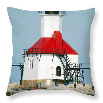 St Joseph North Pier Lights Throw Pillow by Michael Peychich