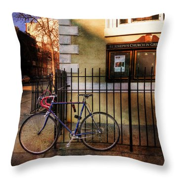 Throw Pillow featuring the photograph St. Joseph's Church Bicycle by Craig J Satterlee