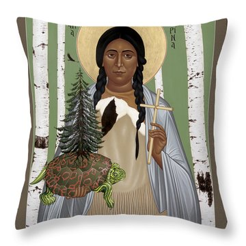 St. Kateri Tekakwitha Of The Iroquois - Rlktk Throw Pillow