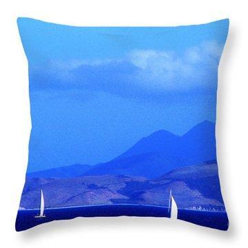 St Kitts Sailboats Throw Pillow by Thomas R Fletcher